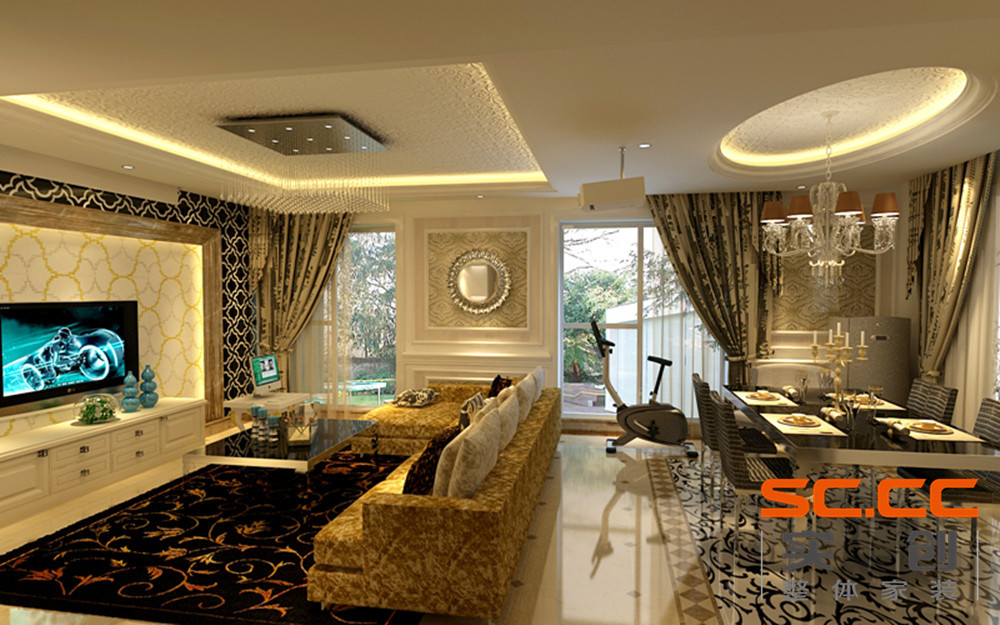 锦绣香江别墅25万打造221平米中式风格