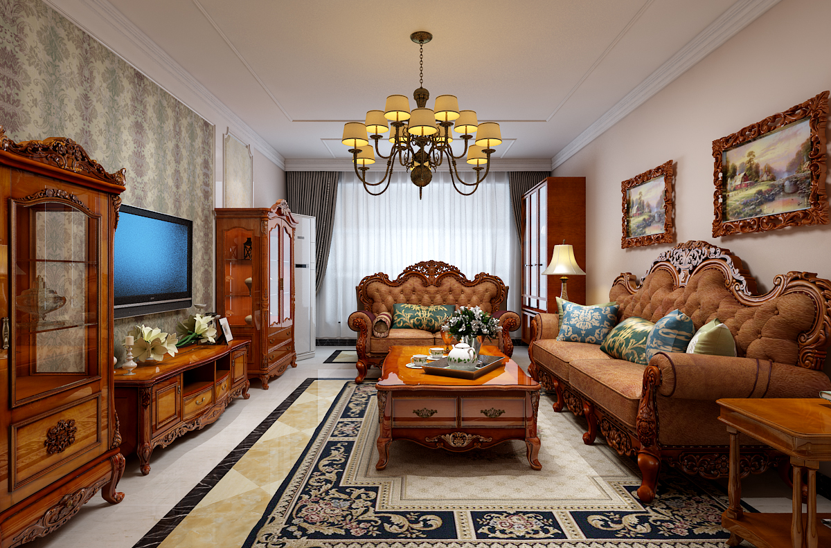 奥北公元145㎡三居室欧式古典风格装修效果图