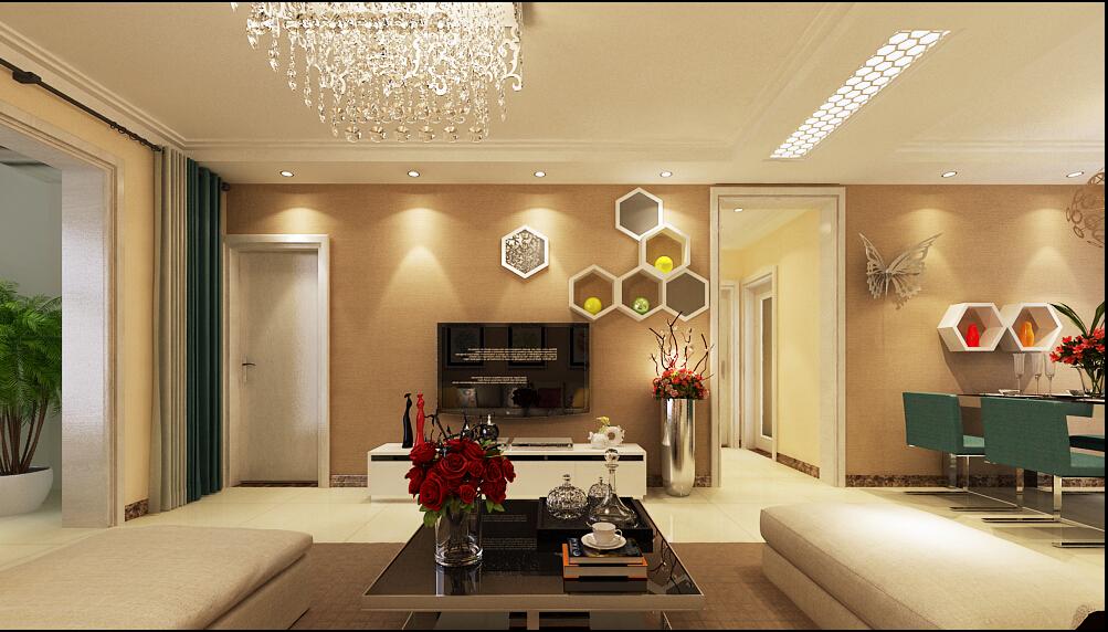 奥北公元6号楼122平三室暖色系简约风格
