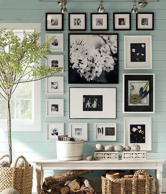 装修宝典 照片墙设计四大注意事项须知    一般白色的墙面,相框的组合图片