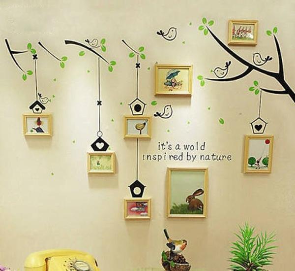 黄色树叶,可爱的小鸟,蘑菇,等让整个照片墙显得清新亮丽,活泼可爱.