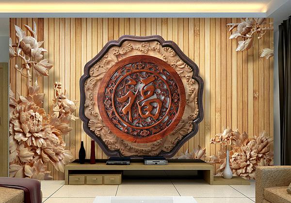 精致的波浪花纹雕刻搭配上立体感很强的荷花木雕图案
