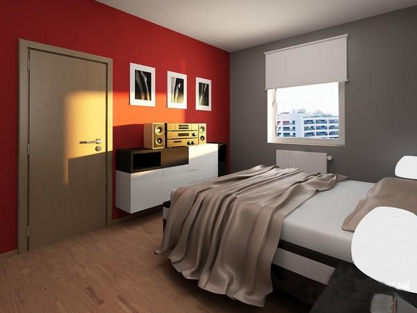 经典红黑搭配单身公寓装修案例赏析