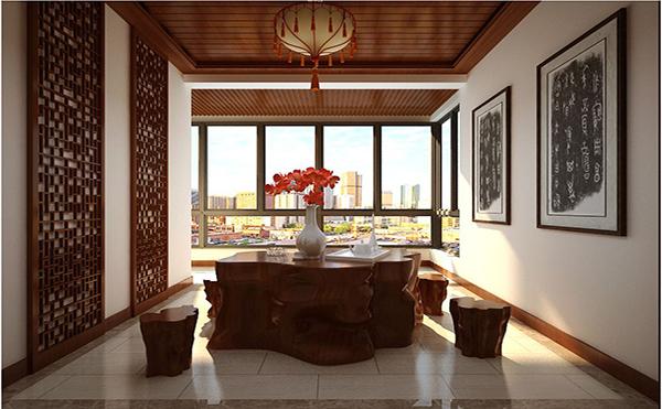 在中式茶室装修搭配中,仿明清的红木桌椅是必不可少的装饰家具.