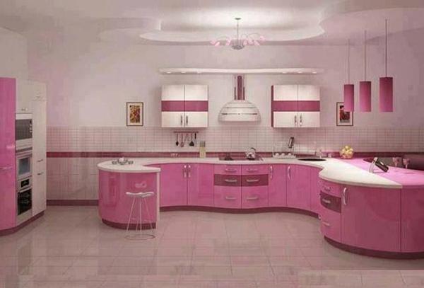 厨房橱柜颜色搭配技巧八:粉色橱柜