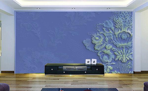 硅藻泥电视背景墙装修效果图八:紫色高贵,浮雕出生动