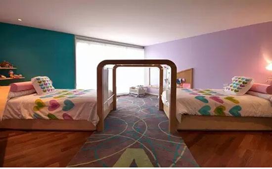 大户型并排式双床儿童房设计装修效果图