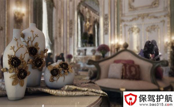 精美雕花艺术的天花吊顶搭配欧式烛台吊灯,凸显出了法国宫廷浪漫的