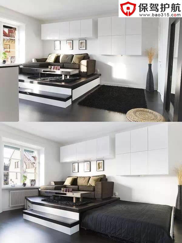 如你的单身公寓面积一般,那么将床隐藏在客厅沙发下面无疑是一种节省
