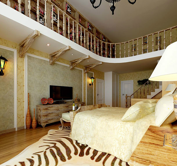 这一套楼中楼设计,比较特色,一楼是起居室,有客厅、卧室。卧室就在楼梯旁,一楼楼梯凭栏和二楼走廊凭栏采用古朴的木质。一楼家具都是采用原木家具,木质纹理突出。二楼是个藏书阁,整个家居的古朴色调跟藏书阁搭配非常和谐。 楼中楼装修设计效果图三: