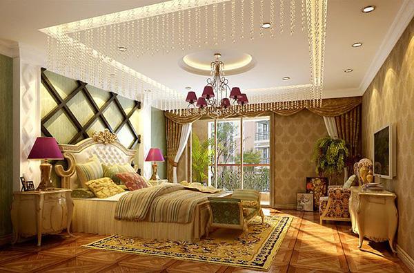 本欧式风格卧室装饰华丽,色调浓烈。富有质感的家具用品搭配栅格背景墙,让整个卧室奢华中带点时尚感。除了色调搭配突出欧式的质感,本卧室还通过对卧室天花的精心装饰,下垂的水晶帘,紫色欧式吊灯,圆弧形吊顶,都让整个卧室充满浪漫高贵的气息。 欧式风格卧室装修效果图四: