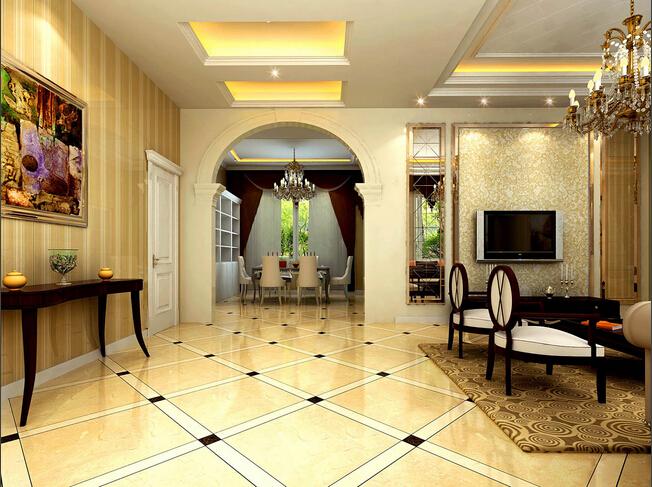 客厅连接处的白色拱门