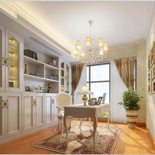 欧式吊灯,欧式书柜,欧式书桌,欧式台灯,这些元素无不体现这是一个图片