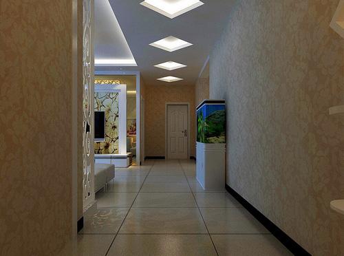 这是一款现代简欧式家居装修效果图,走廊采用菱形栅格吊顶,几个图片