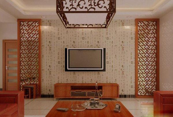 新中式风格客厅电视背景墙装修效果图集锦图片