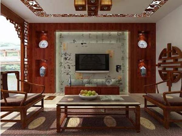 新中式风格客厅电视背景墙装修效果图集锦