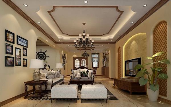 12款田園風格客廳吊頂裝修設計圖,打造唯美客廳