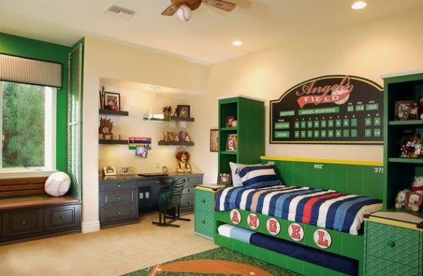 喜欢足球的男孩的卧室也许可以这样设计.