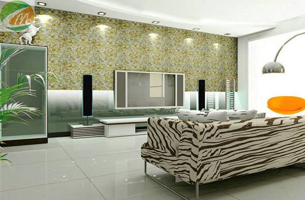 该电视背景墙采用原木色墙衣做装饰与家居地板和