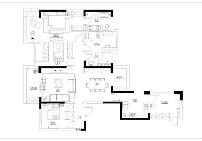 150平米四室二厅美式混搭风格装修案例赏析