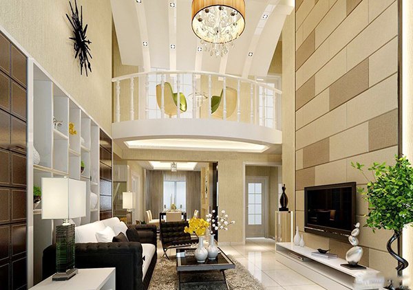 此款楼中楼的楼梯设计以玻璃和现代风格的新型材料