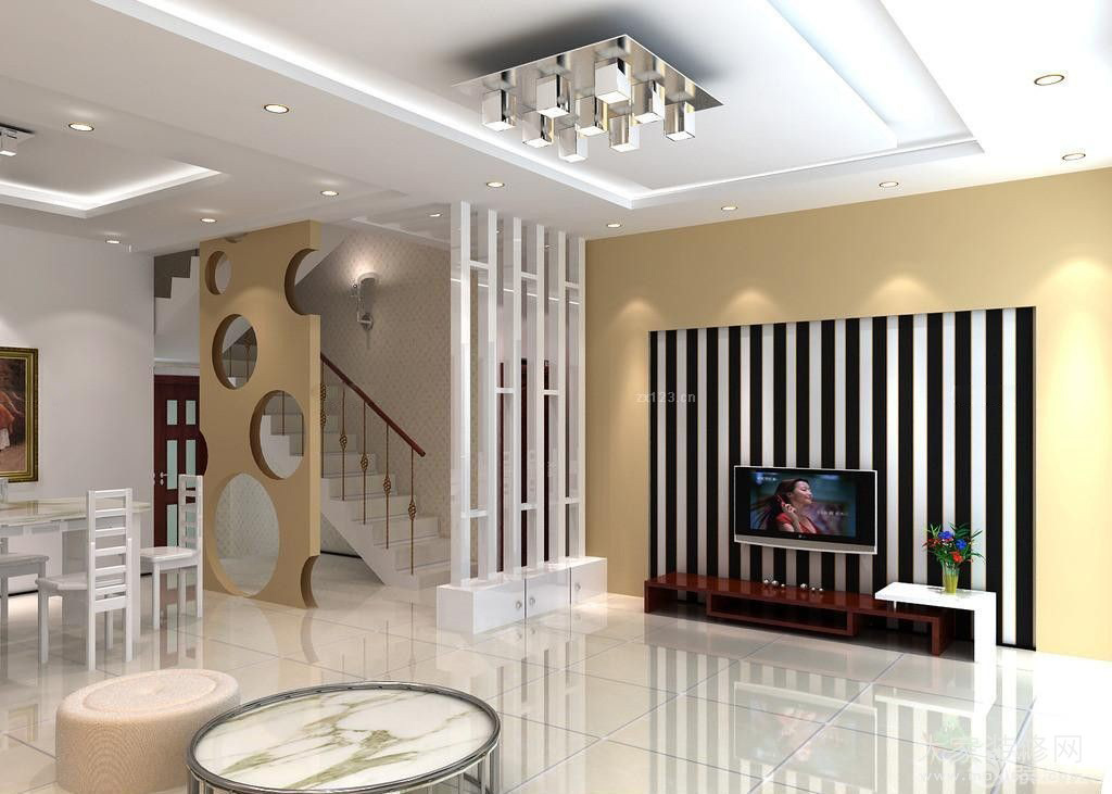 电视背景墙设计是一大特色与楼梯口边的隔断相互呼应。整个居室设计看起来简约舒适,又有个性。 现代简约风格楼中楼装修效果图赏析