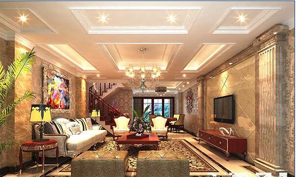 别墅跃层装修效果图中的楼中楼设计为明显的欧式风格