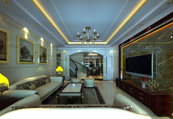 这个楼中楼客厅整体装修非常大气有质感。吊顶设计整体来讲也是简约的,但是其边框金黄色灯带设计,让整个家居充满奢华低调感。 楼中楼客厅吊顶装修设计图片大全