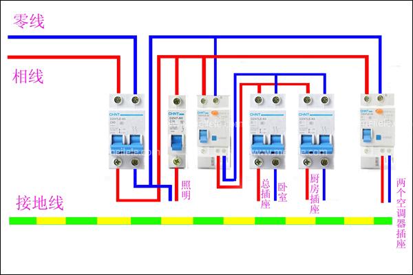 如何安装空气开关 空气开关安装示意图