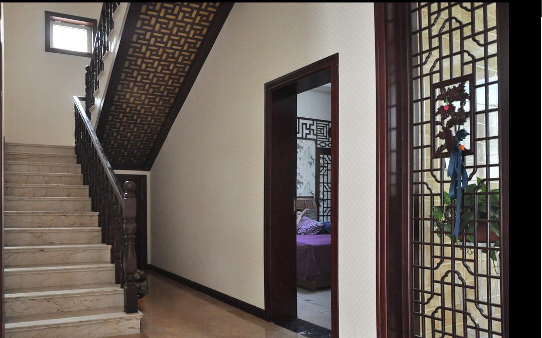 中式风格楼中楼楼梯装修设计效果图欣赏