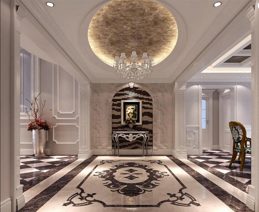 客厅装饰高贵的花纹,华丽的金边线条