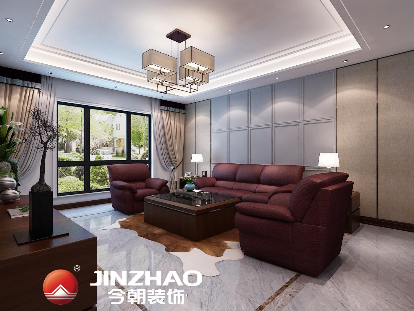 天津今朝装饰--半湾半岛别墅现代简约加新中式