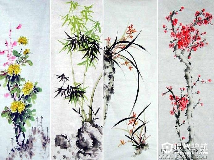 国画梅兰竹菊四条屏是以梅花,兰花,竹,菊花为素材而创作的画.