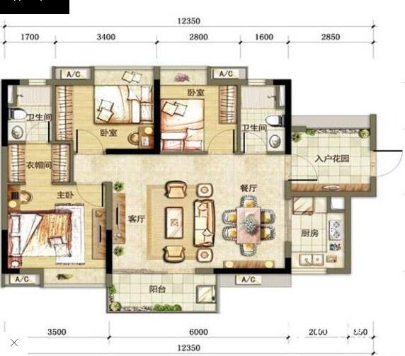 95平米三房兩廳現代家居軟裝搭配唯美圖片