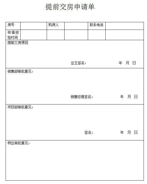 提前交房申请要注意什么 提前交房申请单怎么写