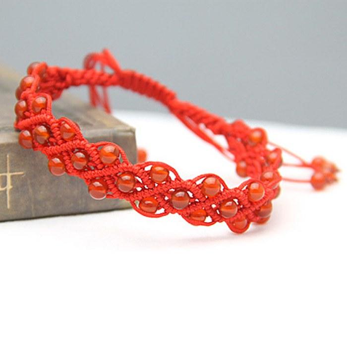 本命年简单红绳手链编法图解