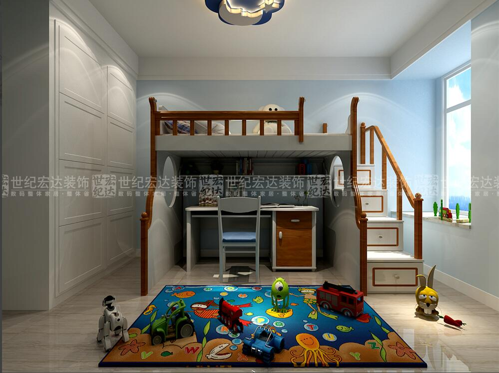 次卧室白色的线条结合蓝色的墙布,形成一种清新舒服的格调.图片