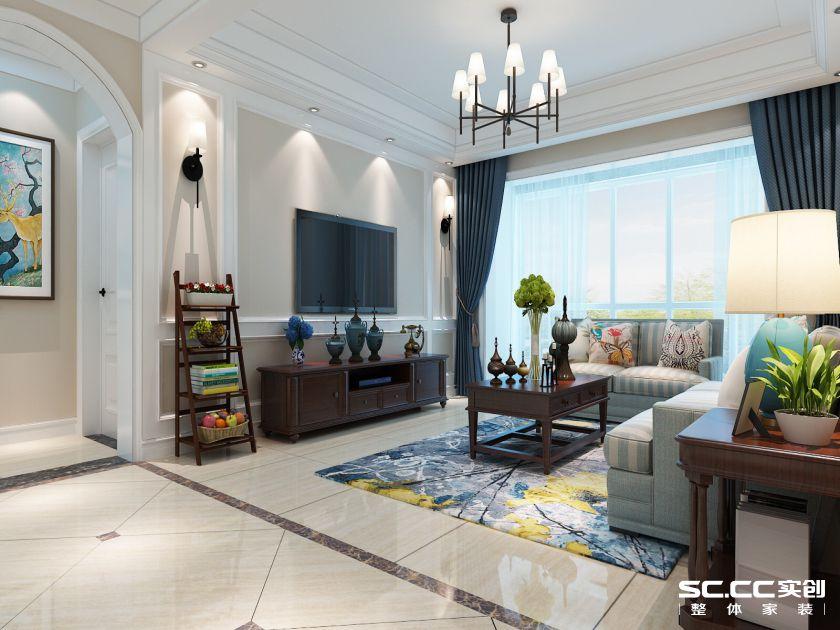 绿都紫荆华庭128平三居室美式风格设计方案