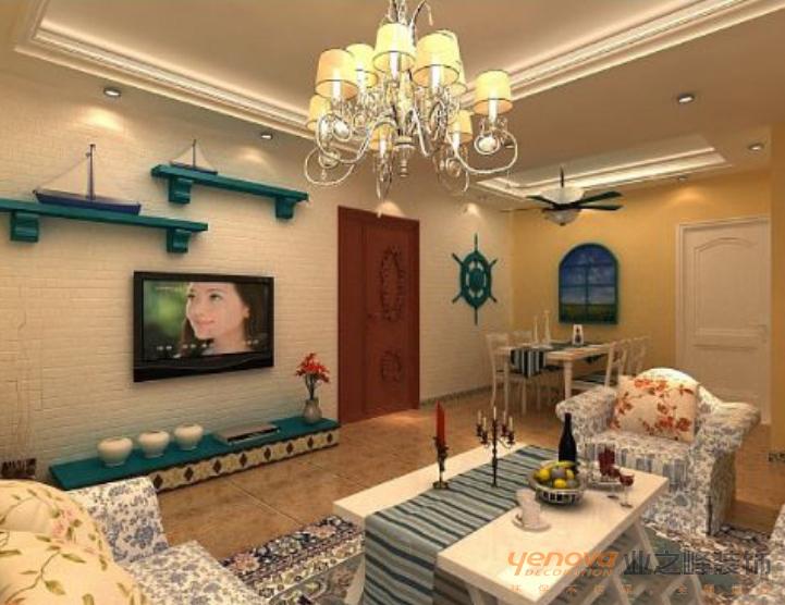 振业城三居室89.6平米装修设计效果图