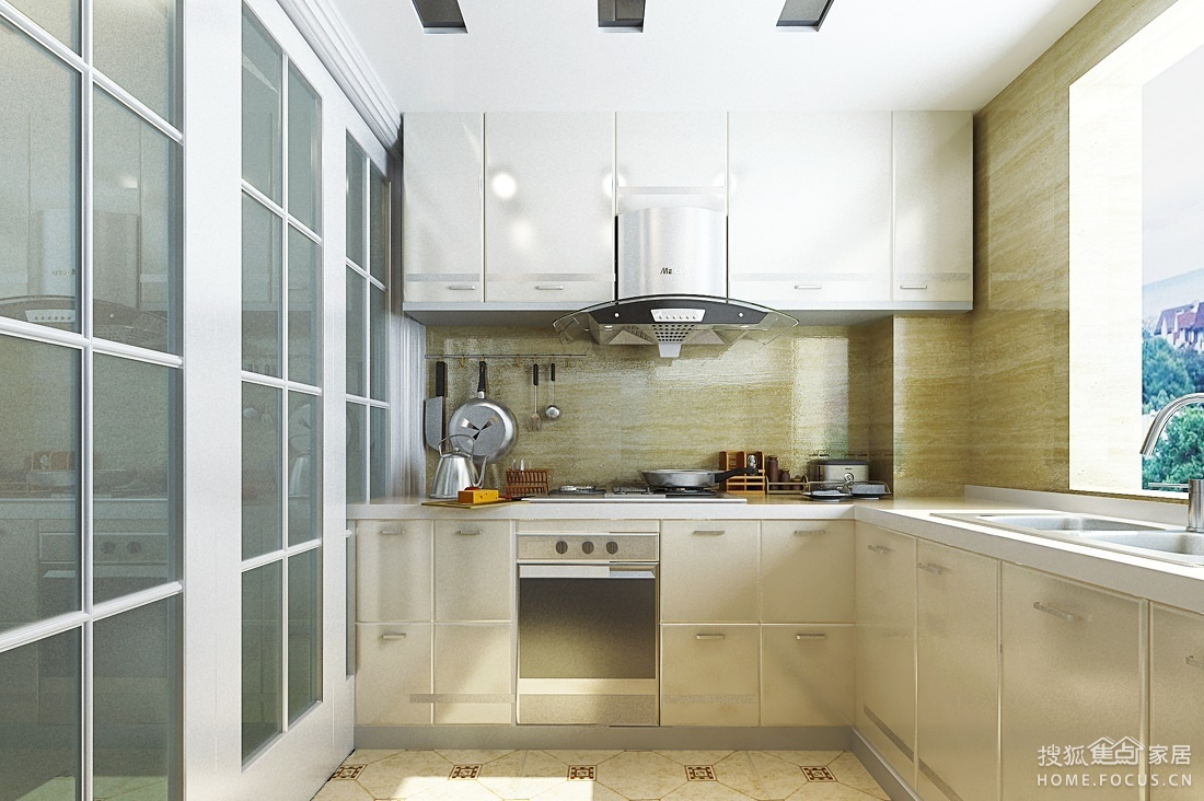 而玻璃厨房隔断墙不仅能够在避免油污进入客厅,还能充分展现现代厨房图片