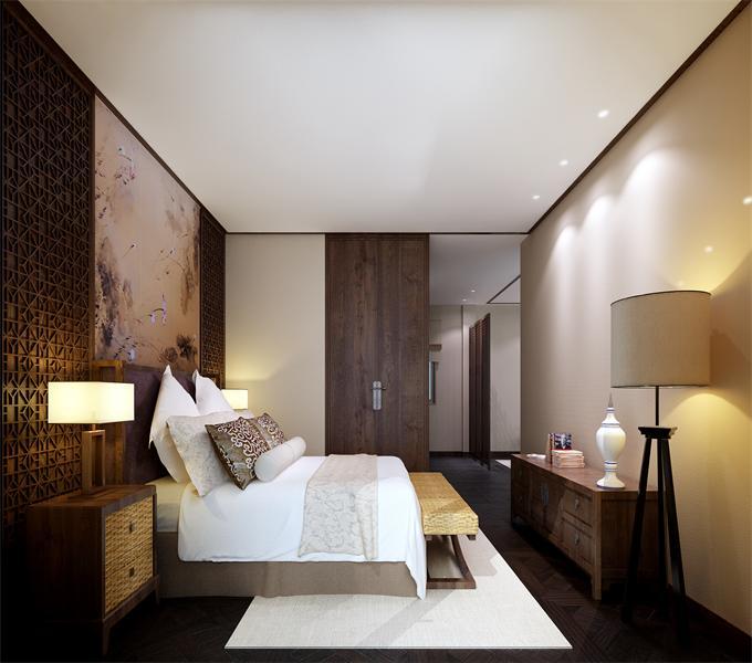 """3中式客房 现代的生活节奏日益加快,西式简捷的风格在服装、饮食等方面都有诸多的影响,在室内设计上也已经成为了流行趋势,但中国元素作为我们的一种文化传统是应该被继承的。在西方设计界流传着一个观点:""""没有中国元素,就没有贵气。""""因此中式风格的卧室也成为白领们的首选之一.jpg"""