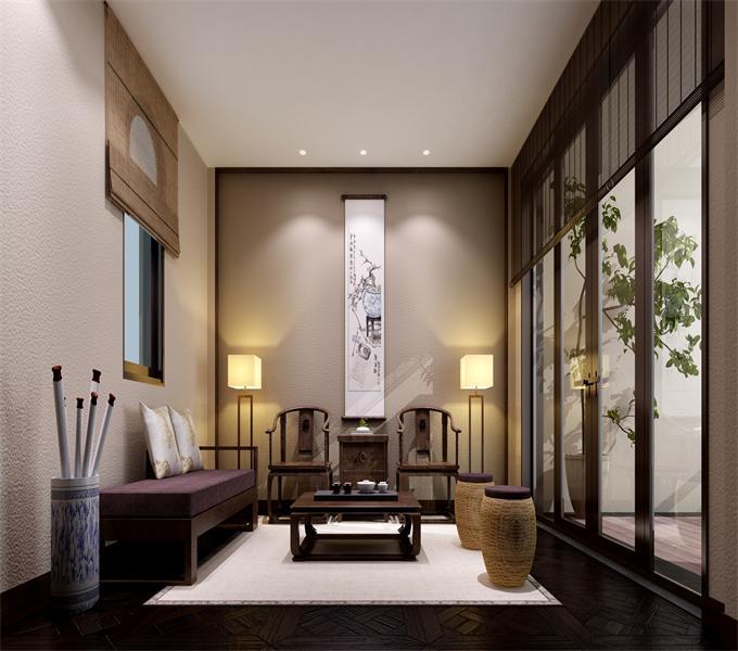 2中式客厅 古朴色调的木质家具与藤制家具,精致典雅的瓷器饰品,充满古典气息的字画,共同构成了这款洋溢着浓郁中式味道的家居装修设计,既有大家风范,又不失时尚气息.jpg