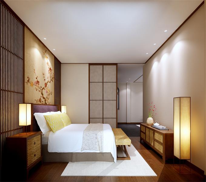 5日式客房 与中式客房比较,布局上基本上没有多大的差别,但是在色彩上面,日式的要更温暖一些。木制品没有中式的精致,但是线条比较清晰,淡雅简约.jpg
