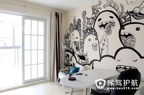 这种手绘墙画就是作为家里的主要装饰物出现的,高大挺拔的树枝,酷感图片
