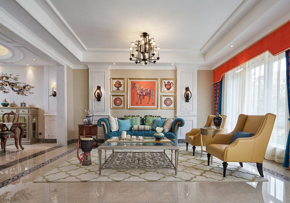 天阳尚城国际-美式风格-四居室装修效果图