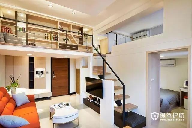 55平现代loft暖家  阁楼 客厅 卧室