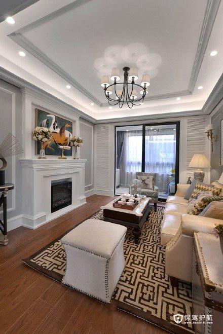 经典美式摩登4居室,巧妙的色彩搭配让空间格外地清新自然