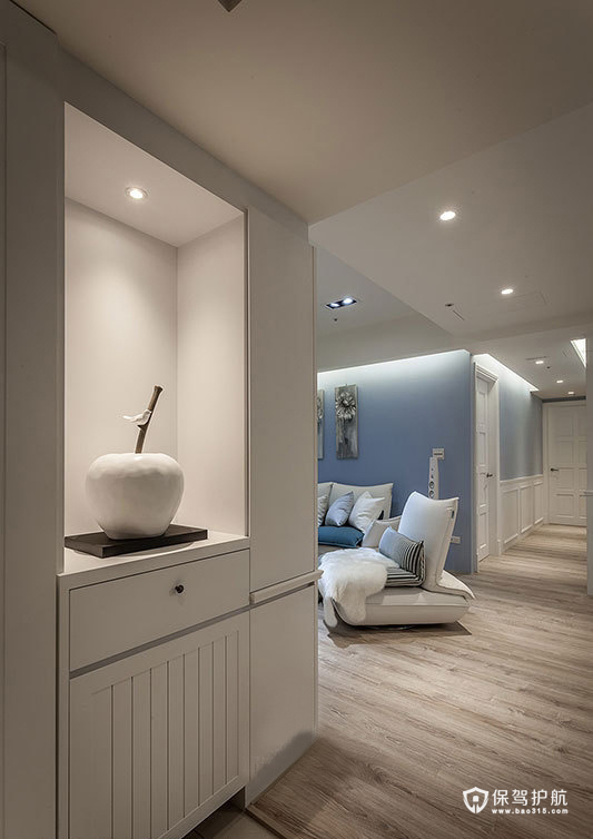105㎡蓝白简约三居室,整洁干净
