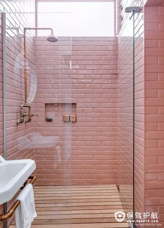 粉色的浴室 层次感和立体感
