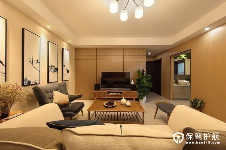 110㎡三房极简舒适的现代中式风格装修